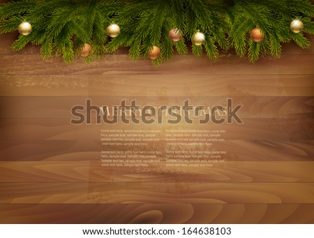 Christmas decoration on wooden background. Vector.
