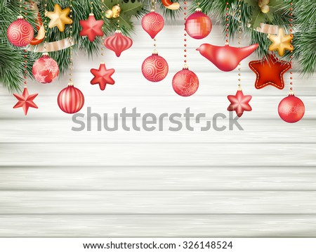 Christmas decoration over wooden background. EPS 10 vector file included - stock vector