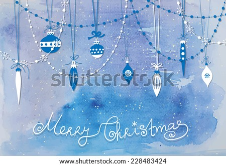 Christmas decoration. Paper  baubles, teardrops and garlands over blue watercolor background. - stock vector