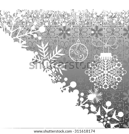 Christmas decoration Pattern wallpaper Holiday background Grey color vector - stock vector