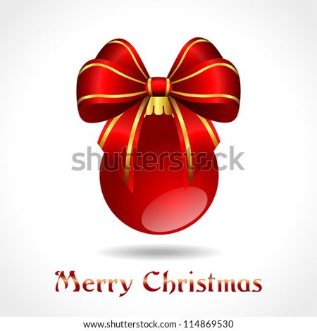 christmas decoration - red ball with ribbon - vector illustration, eps 10 - stock vector