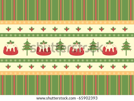 Christmas decoration.Red green card .Vintage style
