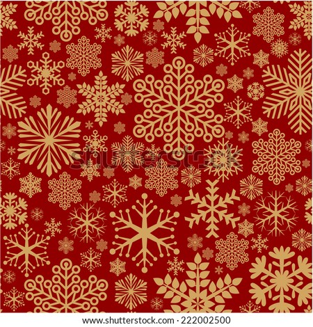 Christmas decoration seamless snowflake vector holiday texture. - stock vector