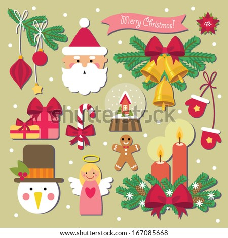 Christmas decoration set - stock vector
