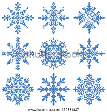 Christmas Decoration, Set Blue Silhouette Snowflakes on White Background. Vector