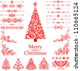 Christmas decoration set - lots of calligraphic elements, bits and pieces to embellish your holiday layouts. Collection of Christmas design elements isolated on White background. Vector illustration - stock