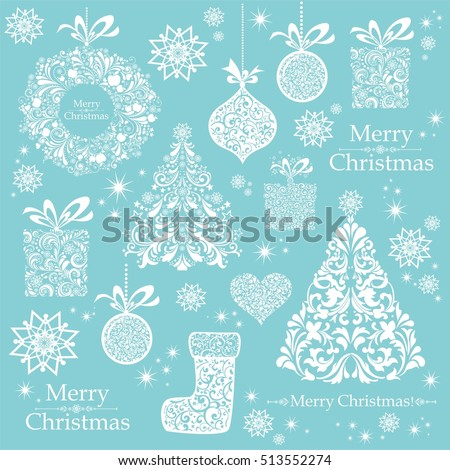 Christmas decoration set - lots of calligraphic elements, bits and pieces to embellish your holiday layouts. Christmas Mint blue background. Merry Christmas wallpaper. Vector illustration