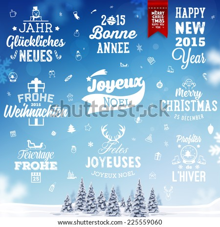 Christmas Decoration Set of Calligraphic and Typographic Design. Labels, Symbols and Icons Elements for Xmas Cards and Posters. Winter Landscape Background with Snowflakes. - stock vector