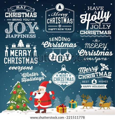 Christmas decoration set of calligraphic and typographic design with labels, symbols and icons elements - stock vector