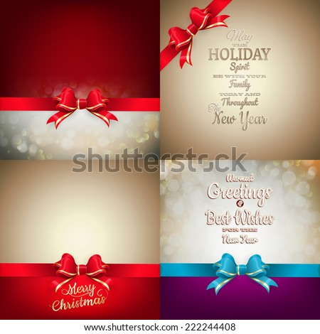 Christmas decoration Set - ribbon bow with bokeh. EPS 10 vector file included - stock vector