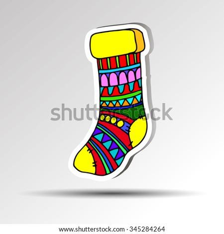 christmas decoration sock xmas winter background red holiday santa gift - stock vector