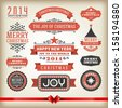 Christmas decoration vector design elements collection. Typographic elements, vintage labels, frames, ribbons, set. Flourishes calligraphic.  - stock vector