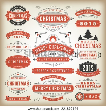 Christmas decoration vector design elements. Merry Christmas and happy holidays wishes.Typographic elements, vintage labels, frames, ornaments and ribbons, set. Flourishes calligraphic.  - stock vector