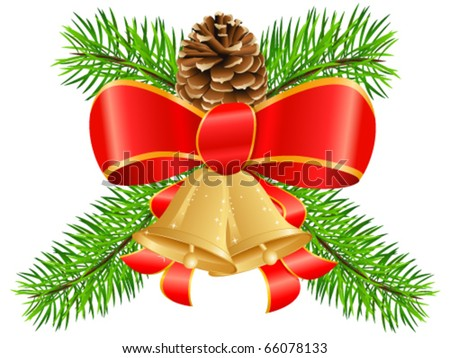 Christmas decoration with bow, pinecone and jingle bells - vector illustration
