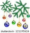 Christmas decoration with Christmas tree - stock vector
