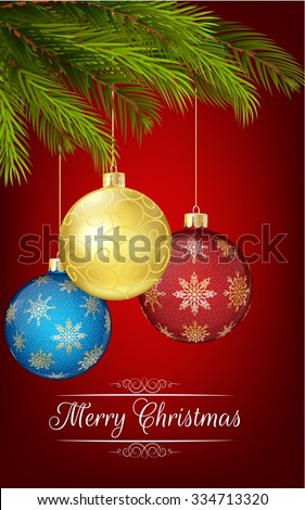 Christmas decoration with Christmas tree and ball. vector - stock vector