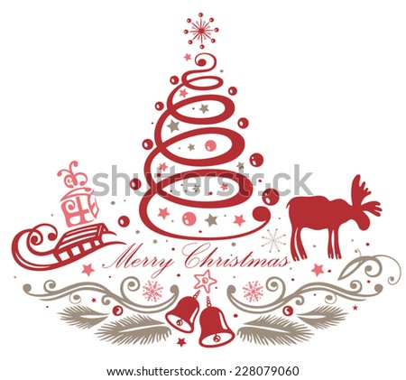 Christmas decoration with christmas tree and moose - stock vector