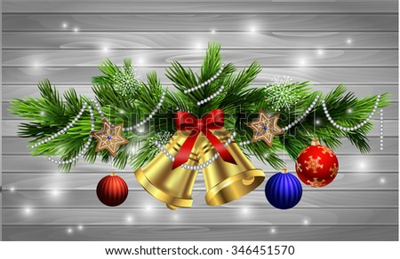 Christmas decoration  with evergreen trees and bells with balls gingerbread on wood background - stock vector