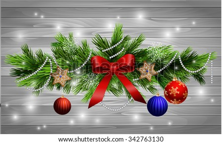 Christmas decoration  with evergreen trees  with balls gingerbread on wood background - stock vector
