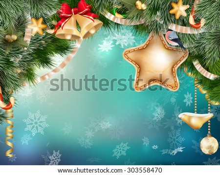 Christmas decoration with fir branches on blue bokeh. EPS 10 vector file included - stock vector