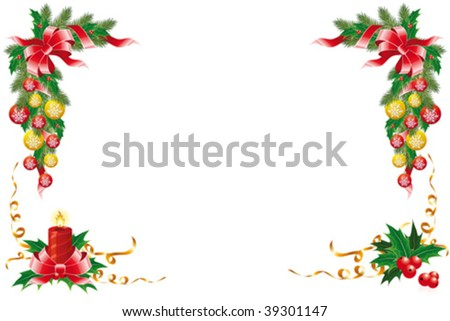 Christmas decoration with garland mistletoe fir-tree and balls