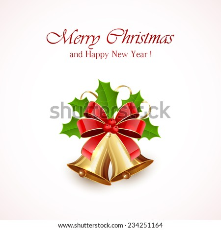 Christmas decoration with golden bells, red bow, tinsel and Holly berries on white background, illustration. - stock vector