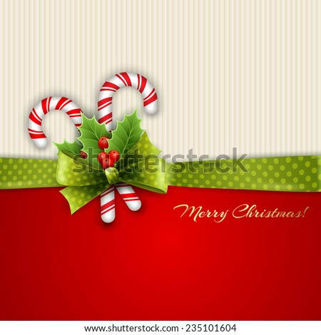 Christmas decoration with holly leaves and green polka dot ribbon - stock vector