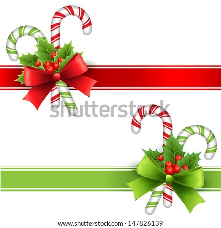 Christmas Decoration With Holly Leaves Bow And Candy