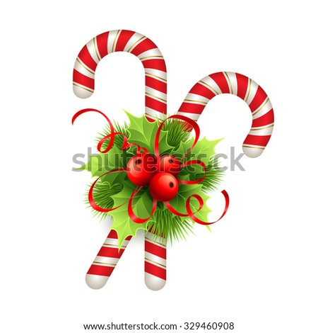Christmas decoration with holly leaves, bow  and candy. Vector illustration EPS 10 - stock vector