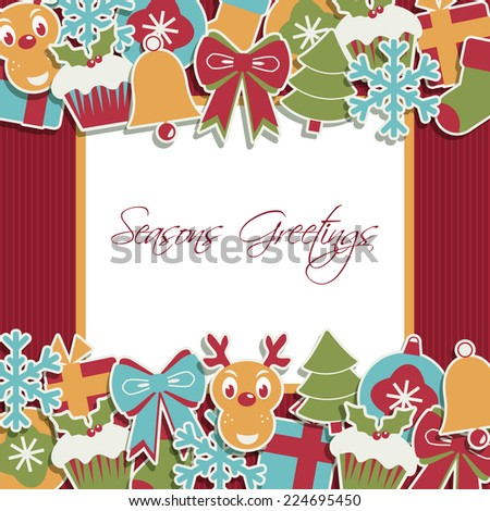 christmas decoration with ornamental border and card for your text - stock vector