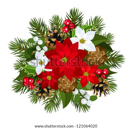 Christmas decoration with poinsettia, fir-tree, cones, holly, and mistletoe. Vector illustration. - stock vector