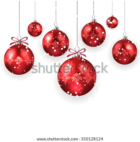 Christmas decoration with red Christmas balls isolated on white - stock vector