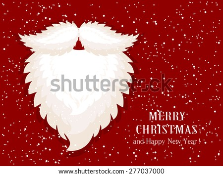 Christmas decoration with Santa beard on snow background, illustration. - stock vector