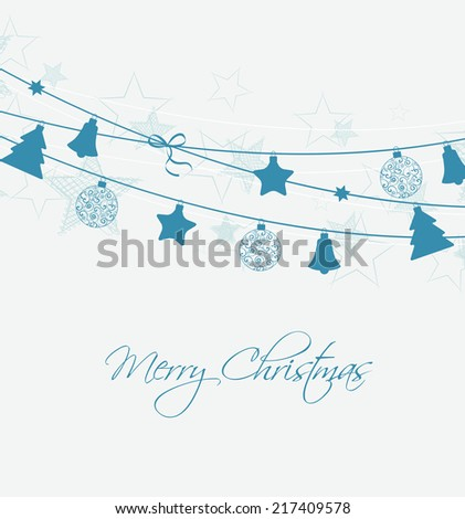 Christmas decoration with stars and Christmas balls - stock vector