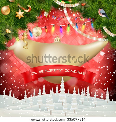 Christmas decorations baubles postcard background. EPS 10 vector file included - stock vector