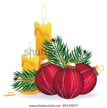 Christmas decorations, candles and fir branches on a white background - stock vector
