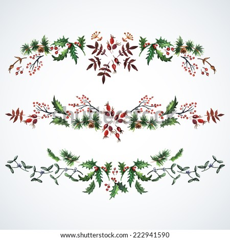 Christmas decorations from plants.  Watercolor. Christmas decor. Ideal for design Christmas gifts and scrapbooking.  - stock vector