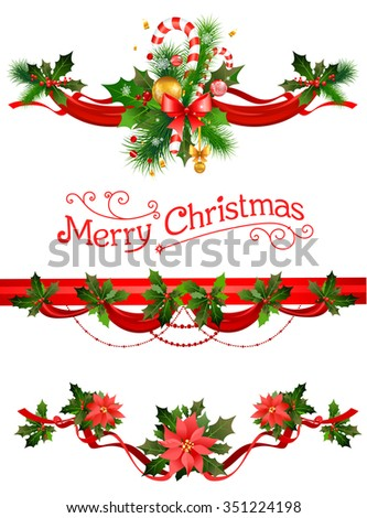 Christmas decorations. Holiday elements  for design card, banner,ticket, leaflet and so on. - stock vector