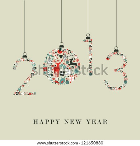 Christmas decorations icons in 2013 happy new year hanging numbers. Vector illustration layered for easy manipulation and custom coloring. - stock vector