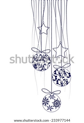 Christmas Decorations in black - vector elements - stock vector