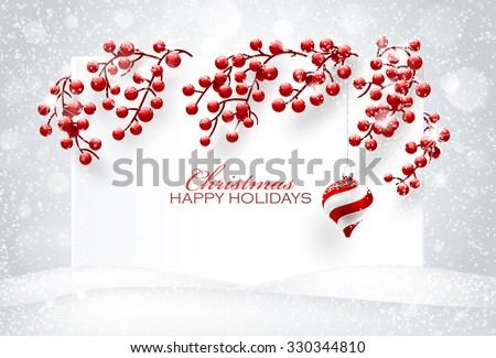 Christmas decorations on white background. Vector illustration - stock vector