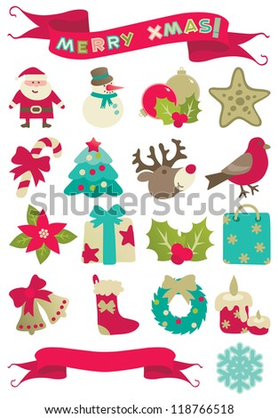 "Christmas decorations. Set of vector icons of many christmas decorations and banners with ""Merry christmas!"" isolated on white background. - stock vector"