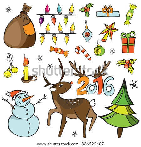 Christmas decorations set. Vector icons. Design elements collection. Cartoon  objects. Snowmen,deer, pine tree,holly berry, gifts, garlands, sweets on white Merry Christmas and Happy New 2016 Year!