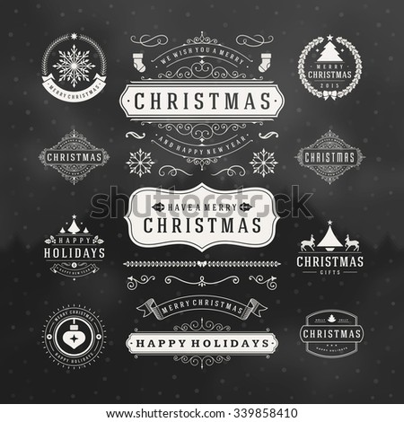 Christmas Decorations Vector Design Elements. Typographic elements, Symbols, Icons, Vintage Labels, Badges, Frames, Ornaments set. Flourishes calligraphic. Merry Christmas and Happy Holidays wishes. - stock vector