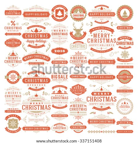 Christmas decorations vector design elements. Typographic messages, tree, deer, snowflake, vintage labels, frames ribbons, badges, logos, ornaments set. Flourishes calligraphic. Big Collection. - stock vector
