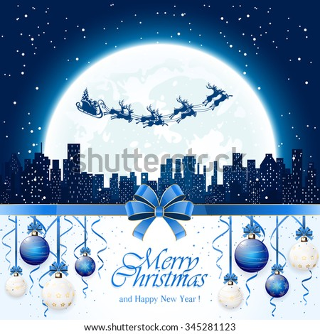 Christmas decorations with blue balls, tinsel, bow and Santa flies over the city on Moon background, illustration.