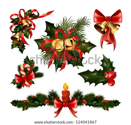 Christmas decorations with Christmas fir tree golden jingle bells and Christmas decorative elements. Christmas  vector illustration