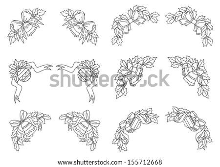 Christmas decorations with holly, balls, bells and ribbons. Jpeg (bitmap) version also available in gallery - stock vector