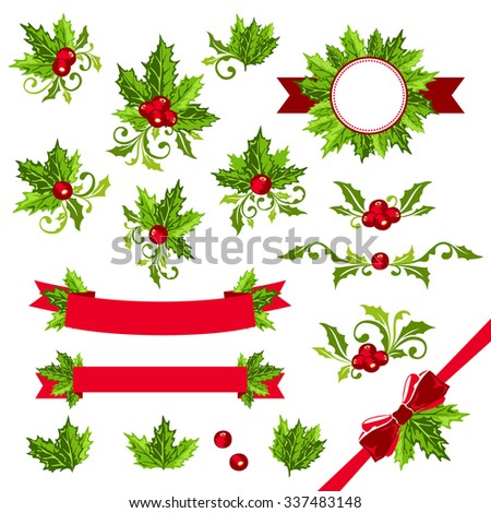 Christmas decorations with holly leaves. Ribbons, dividers, sticker and other ornamental elements. - stock vector
