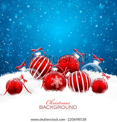 Christmas decorations with red balls. Vector - stock vector